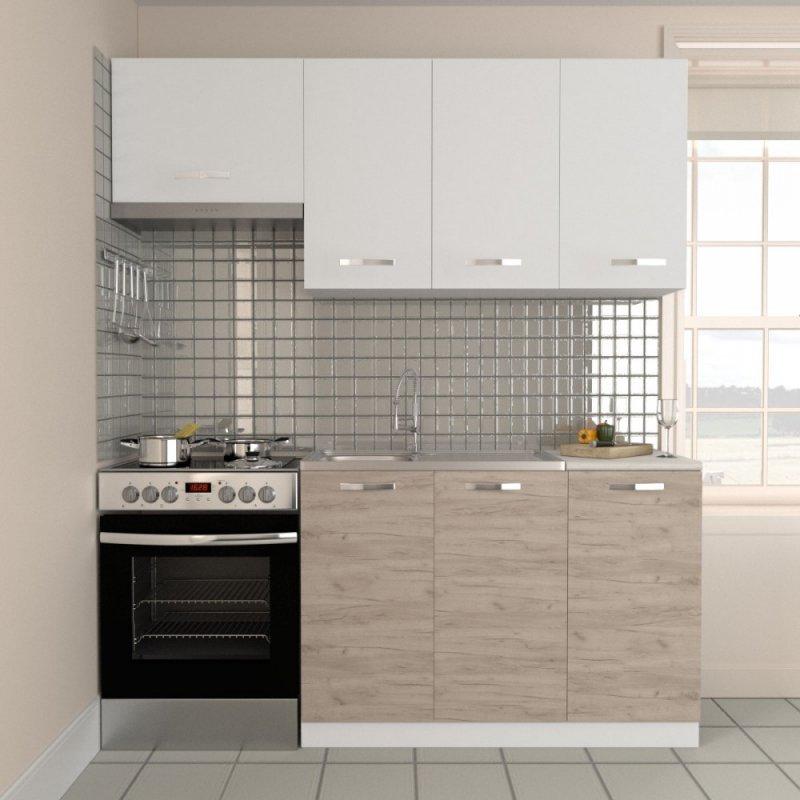 """Κουζίνα """"CHARLOTTE"""" σετ 5τμχ σε χρώμα δρυς-λευκό 180/120x30.5/46.5"""