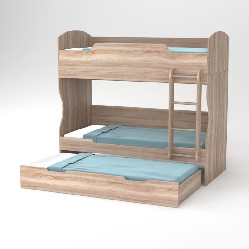 """Κρεβάτι-κουκέτα """"HOSTEL"""" σε χρώμα δρυς 203x93.2x185"""