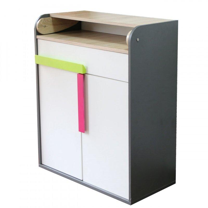 """Συρταριέρα """"ALEX"""" σε χρώμα γραφίτη-σονόμα-λευκό 84x37x94"""