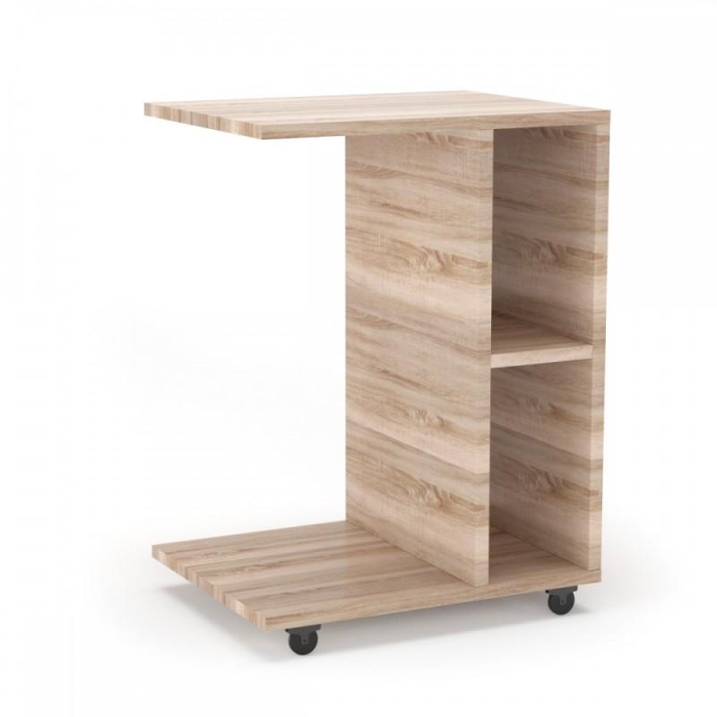 """Τραπέζι βοηθητικό """"SONIA"""" τροχήλατο σε χρώμα σονόμα 45x35x57,50"""