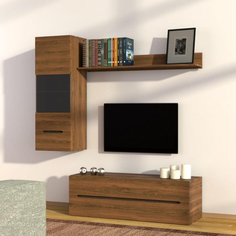 """Σύνθεση TV """"OSLO 1"""" σε καφέ-δρυς χρώμα 160x41x184"""