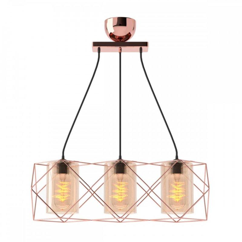 Φωτιστικό 3φωτο μεταλλικό-γυάλινο σε χάλκινο χρώμα 33x20x20,3