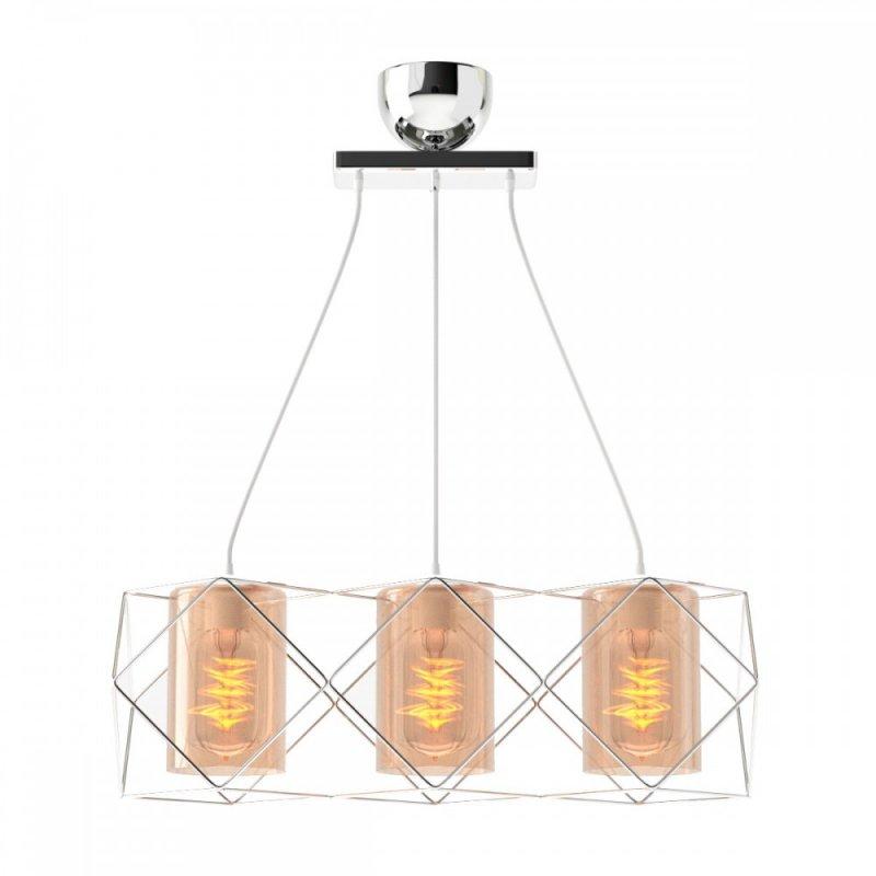 Φωτιστικό 3φωτο μεταλλικό-γυαλινό σε inox χρώμα 33x20x20,3
