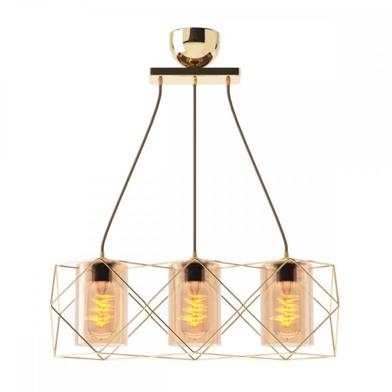 Φωτιστικό 3φωτο μεταλλικό-γυαλινό σε χρυσό χρώμα 33x20x20,3