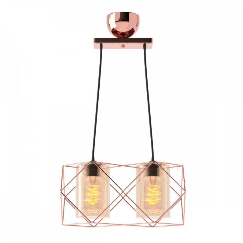 Φωτιστικό 2φωτο μεταλλικό-γυάλινο σε χάλκινο χρώμα 33x20x20,2
