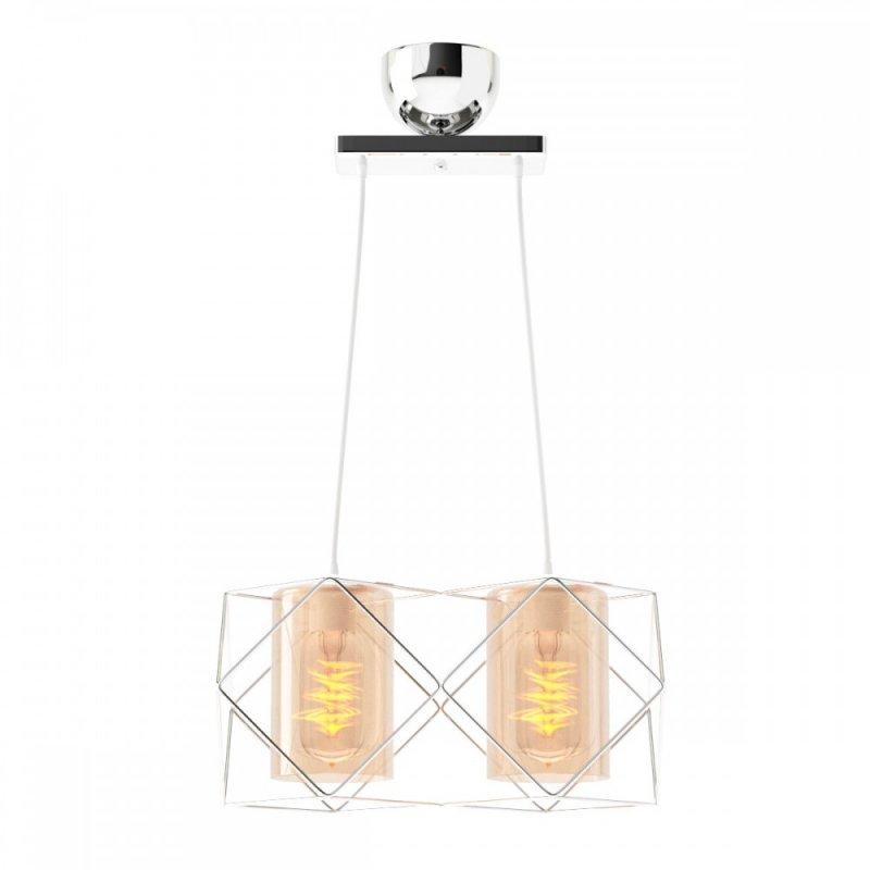 Φωτιστικό 2φωτο μεταλλικό-γυάλινο σε inox χρώμα 33x20x20,2