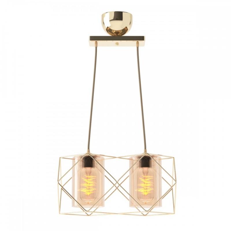 Φωτιστικό 2φωτο μεταλλικό-γυάλινο σε χρυσό χρώμα 33x20x20,2