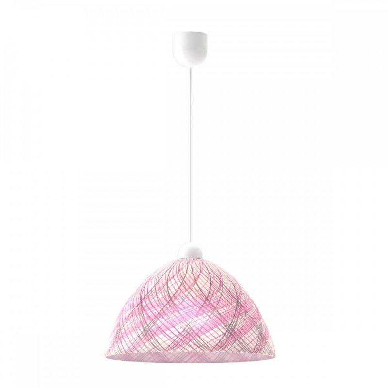 Φωτιστικό μονόφωτο γυάλινο σε ροζ χρώμα Φ30