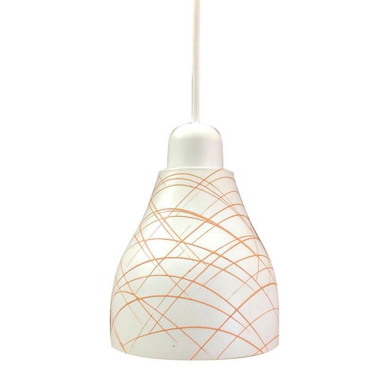 Φωτιστικό γυάλινο σε λευκό-πορτοκαλί χρώμα 14cm