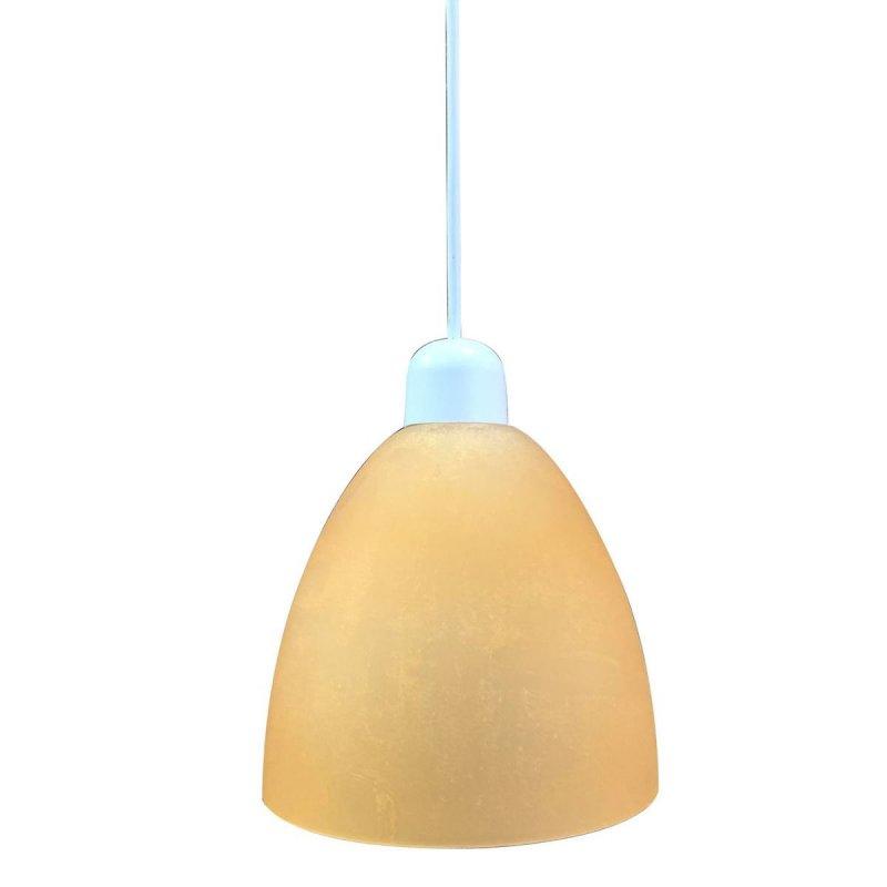 Φωτιστικό μονόφωτο γυάλινο σε μελί χρώμα 17cm
