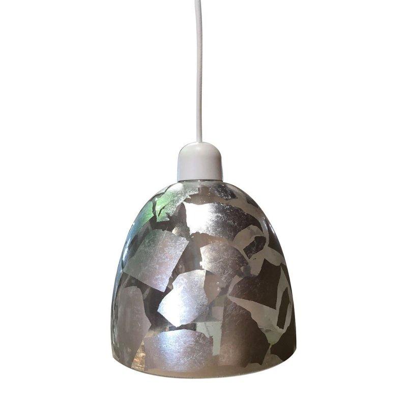 Φωτιστικό μονόφωτο γυάλινο με ασημένια φύλλα 17cm