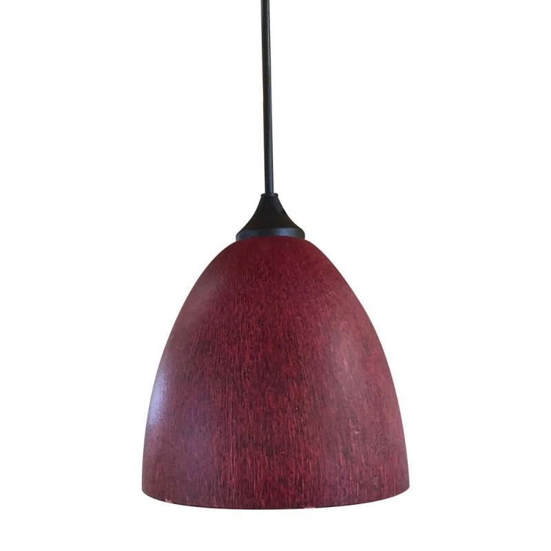 Φωτιστικό μονόφωτο γυάλινο σε σκούρο κόκκινο χρώμα 17cm