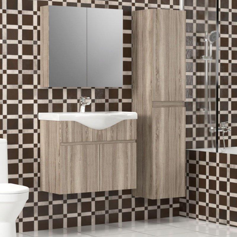 """Σετ μπάνιου """"ODELIA 75"""" κρεμαστό σε δρυς χρώμα"""