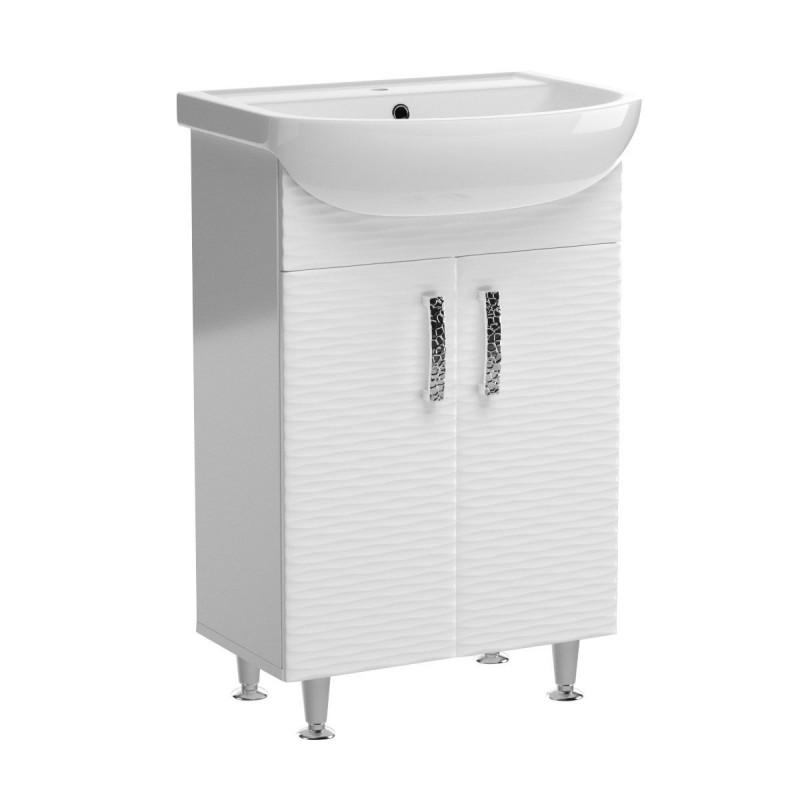Έπιπλο μπάνιου με νιπτήρα 3D σε λευκό χρώμα 55x44x84