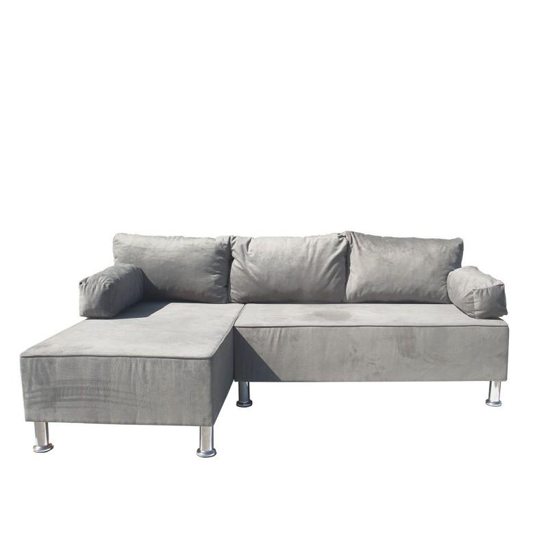 """Γωνιακός καναπές """"KIVAR"""" με αναστρέψιμη γωνία σε γκρι βελούδινο χρώμα 190x120x70"""