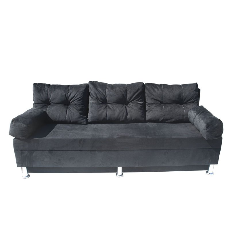 """Καναπές-κρεβάτι """"KSENIA"""" με αποθηκευτικό χώρο βελούδινος σε μαύρο χρώμα 190x72x80"""