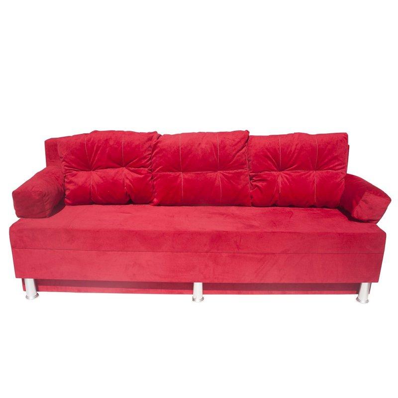 """Καναπές-κρεβάτι """"KSENIA"""" με αποθηκευτικό χώρο βελούδινος σε κόκκινο χρώμα 190x72x80"""