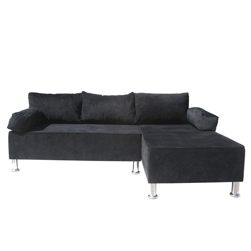 """Γωνιακός καναπές """"KIVAR"""" με αναστρέψιμη γωνία σε μαύρο βελούδινο χρώμα 190x120x70"""
