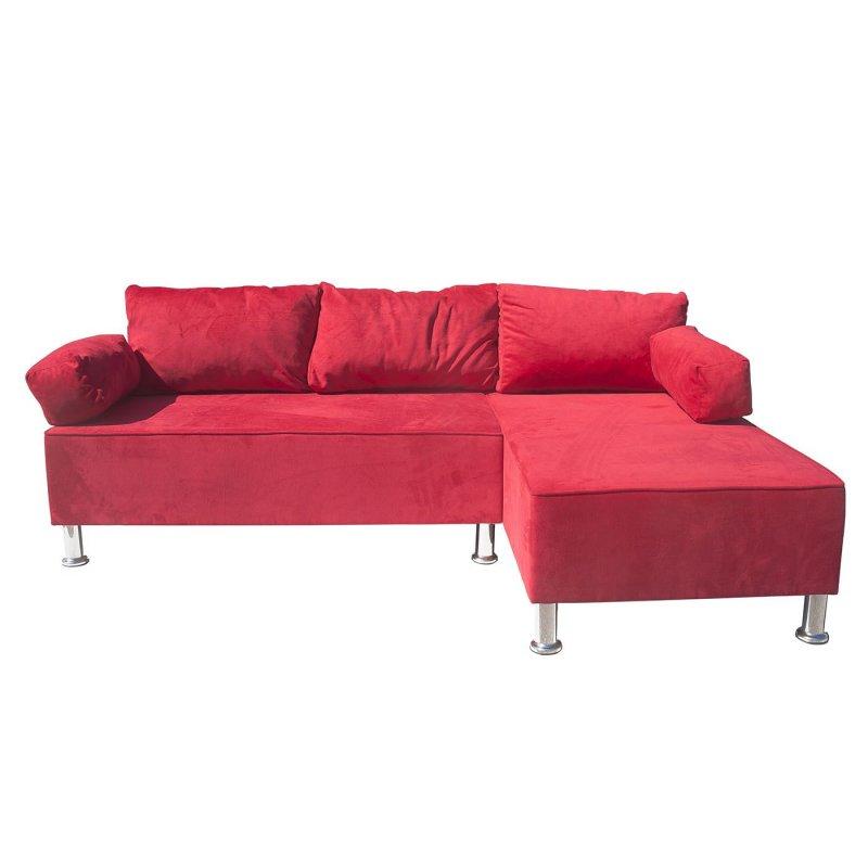 """Γωνιακός καναπές """"KIVAR"""" με αναστρέψιμη γωνία σε κόκκινο βελούδινο χρώμα 190x120x70"""