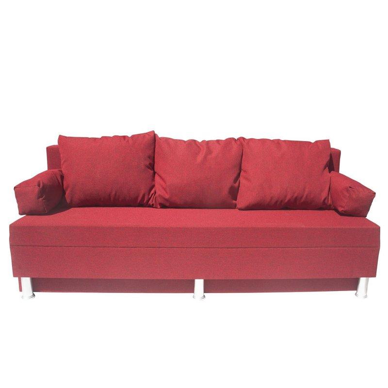 """Καναπές-κρεβάτι """"KIVAR"""" υφασμάτινος με αποθηκευτικό χώρο σε κόκκινο χρώμα 190x72x80"""