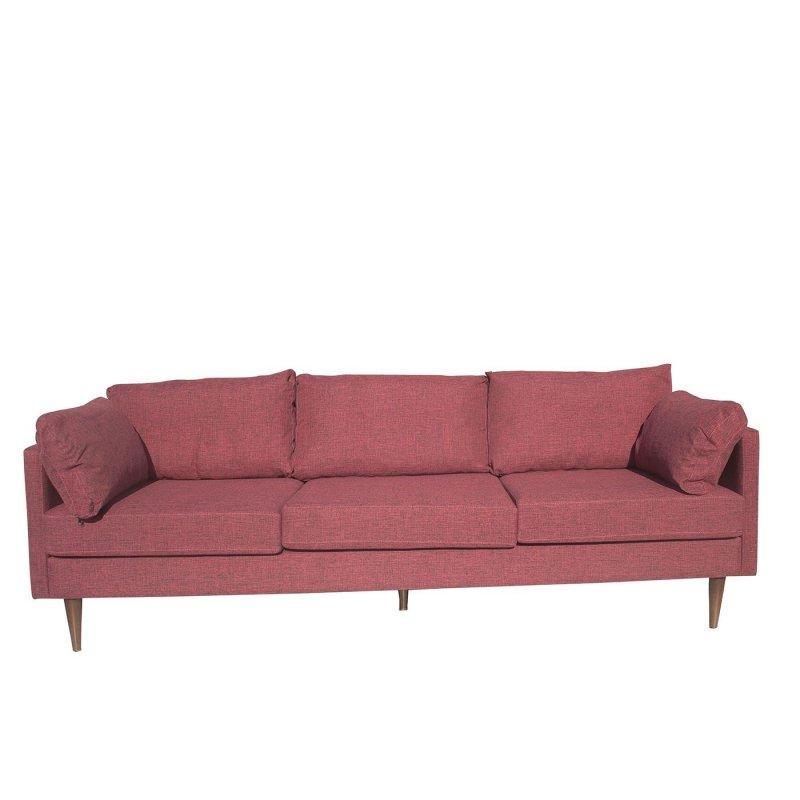 """Καναπές τριθέσιος """"PATHE"""" υφασμάτινος σε κόκκινο χρώμα 220x80x85"""