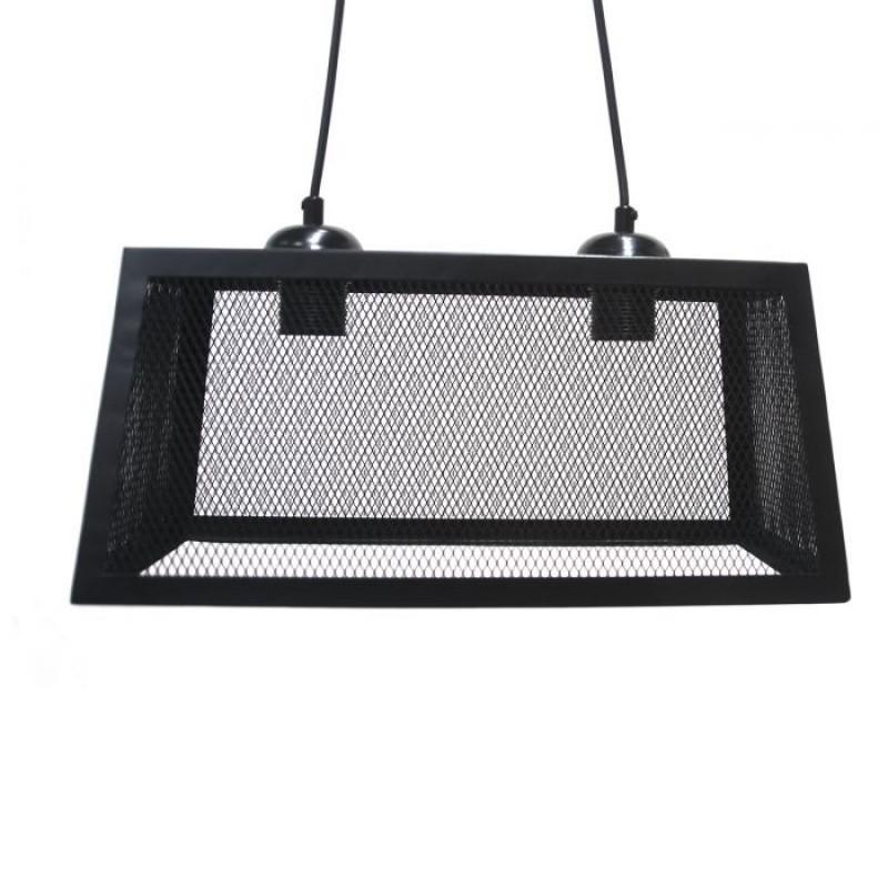 Φωτιστικό οροφής δίφωτο μεταλλικό σε μαύρο χρώμα 40x18x18/70