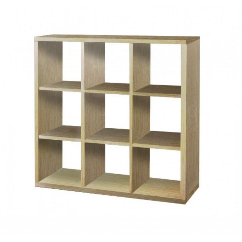 Βιβλιοθήκη με κύβους 3x3 σε δρυς χρώμα 110x35x110