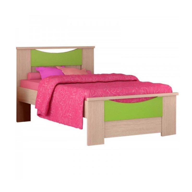 """Παιδικό κρεβάτι """"ΧΑΜΟΓΕΛΟ"""" ημίδιπλο σε χρώμα δρύς-λαχανί 110x190"""