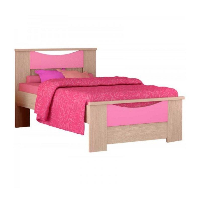 """Παιδικό κρεβάτι """"ΧΑΜΟΓΕΛΟ"""" ημίδιπλο σε χρώμα δρύς-ροζ 110x190"""