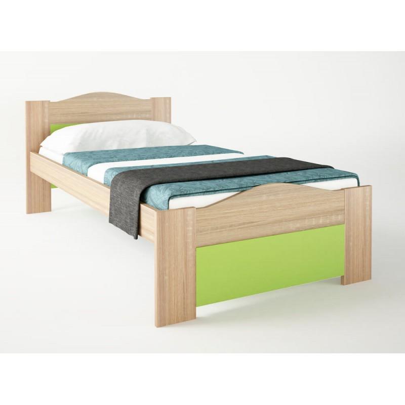 """Παιδικό κρεβάτι """"ΚΥΜΑ"""" μονό σε χρώμα δρυς-λαχανί 90x190"""