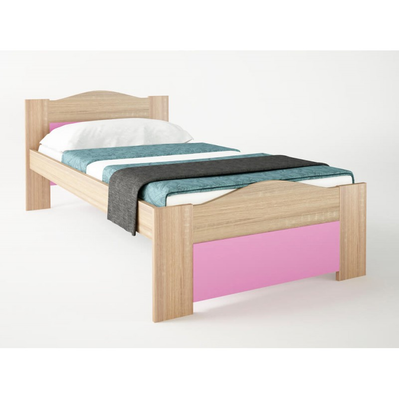 """Παιδικό κρεβάτι """"ΚΥΜΑ"""" μονό σε χρώμα δρυς-ροζ 90x190"""