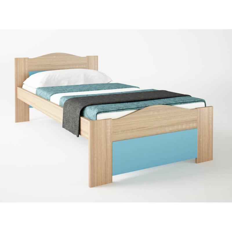 """Παιδικό κρεβάτι """"ΚΥΜΑ"""" μονό σε χρώμα δρύς-σιέλ 90x190"""