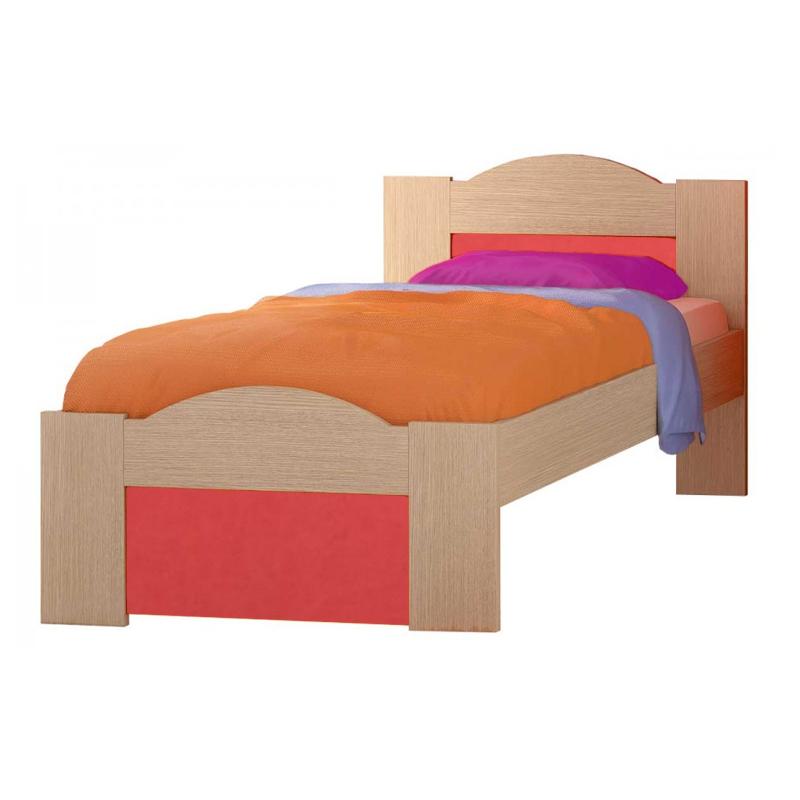 """Παιδικό κρεβάτι """"ΚΥΜΑ"""" ημίδιπλο σε χρώμα δρύς-πορτοκαλί 110x190"""