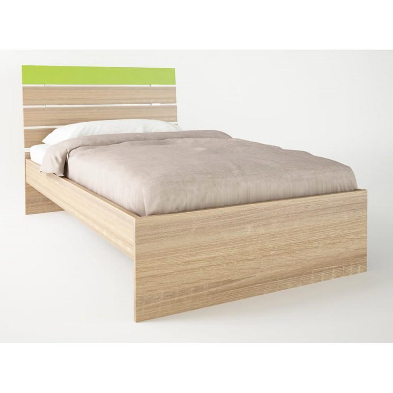 """Παιδικό κρεβάτι """"ΝΟΤΑ"""" μονό σε χρώμα δρύς-λαχανί 90x190"""