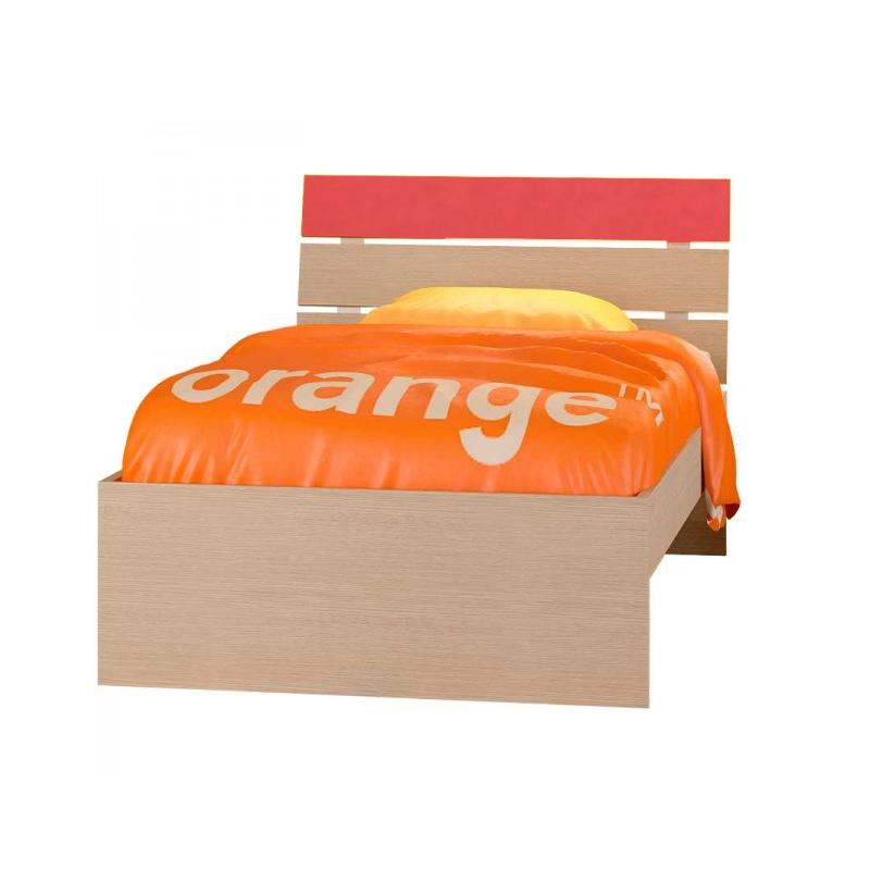"""Παιδικό κρεβάτι """"ΝΟΤΑ"""" μονό σε χρώμα δρυς-πορτοκαλί 90x190"""