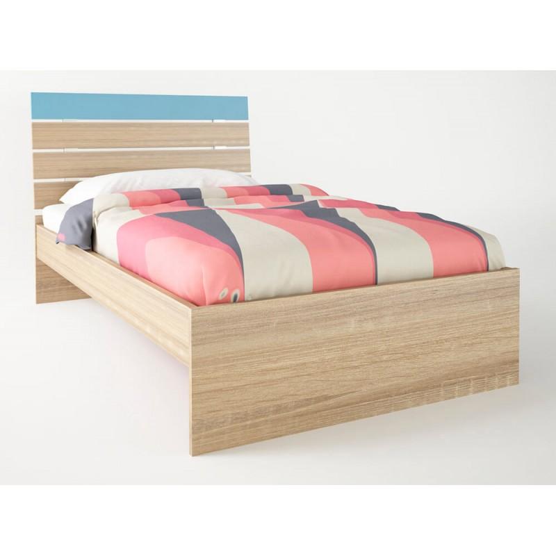 """Παιδικό κρεβάτι """"ΝΟΤΑ"""" ημίδιπλο σε χρώμα δρύς-σιέλ 110x190"""