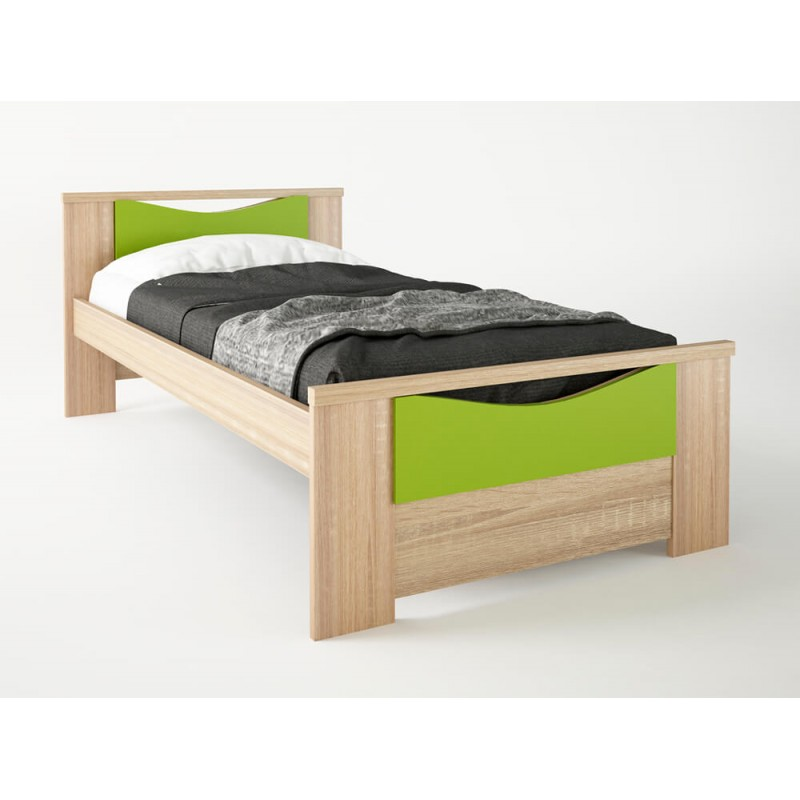 """Παιδικό κρεβάτι """"ΧΑΜΟΓΕΛΟ"""" μονό σε χρώμα δρυς-λαχανί 90x190"""