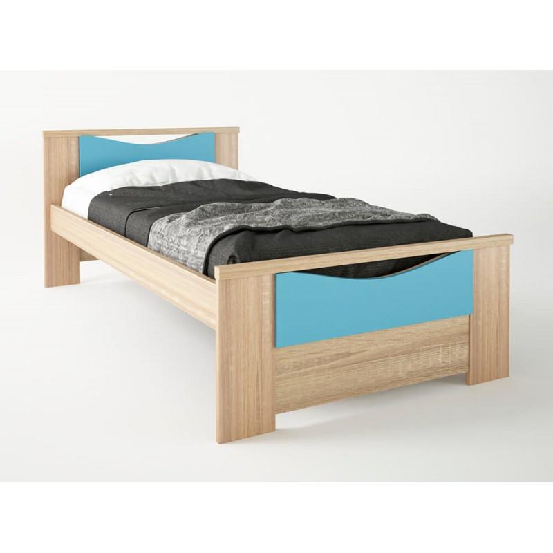 """Παιδικό κρεβάτι """"ΧΑΜΟΓΕΛΟ"""" μονό σε χρώμα δρυς-σιέλ 90x190"""