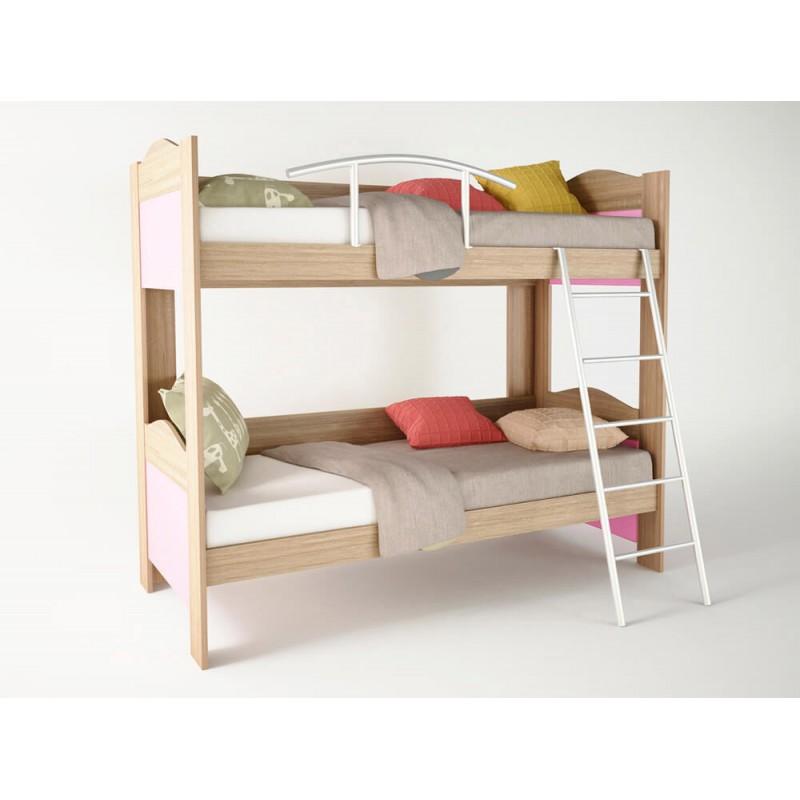 Κουκέτα παιδική χρώμα δρυς-ροζ 90x190x165