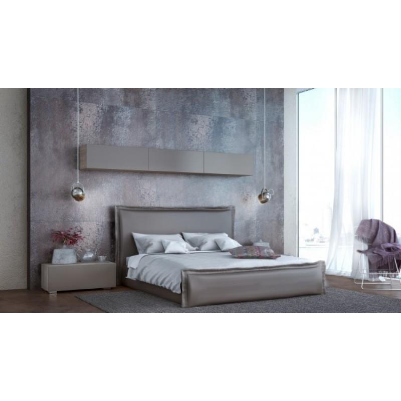 """Κρεβάτι """"VESTITO"""" διπλό επενδυμένο από τεχνόδερμα σε χρώμα μόκα 160x200"""