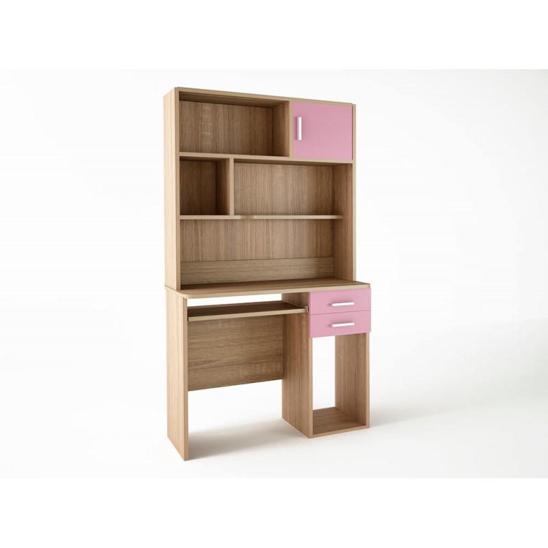 Παιδικό γραφείο με εταζιέρα σε χρώμα δρυς-ροζ