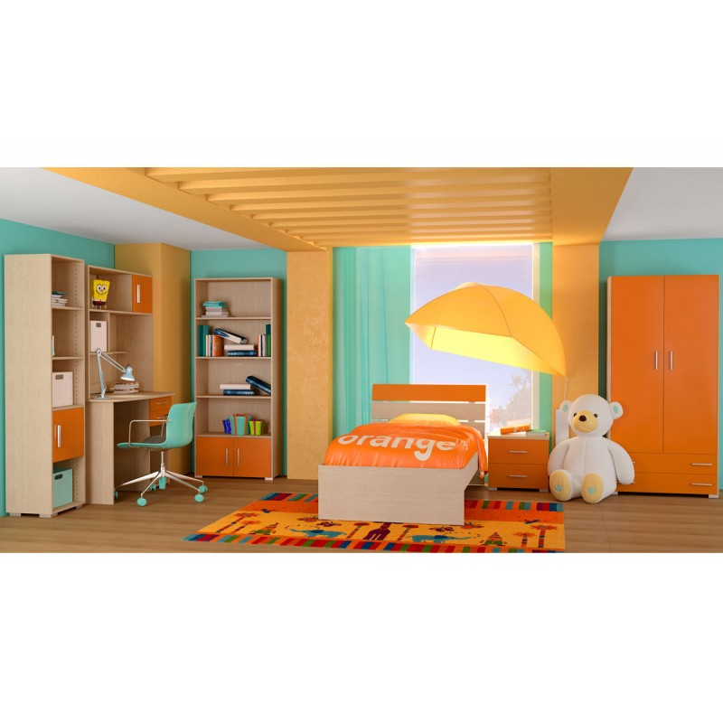 """Παιδικό δωμάτιο """"NOTA"""" σετ 7 τμχ σε χρώμα δρυς-πορτοκαλί"""