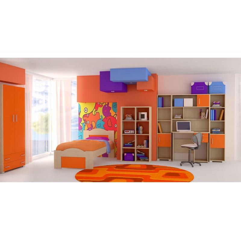 """Παιδικό δωμάτιο """"ΚΥΜΑ"""" σετ 7 τμχ σε χρώμα δρυς-πορτοκαλί"""