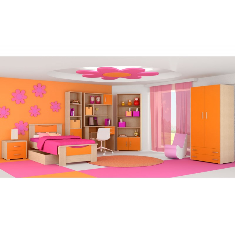 """Παιδικό δωμάτιο """"ΧΑΜΟΓΕΛΟ"""" σετ 9 τμχ σε χρώμα δρυς-πορτοκαλί"""