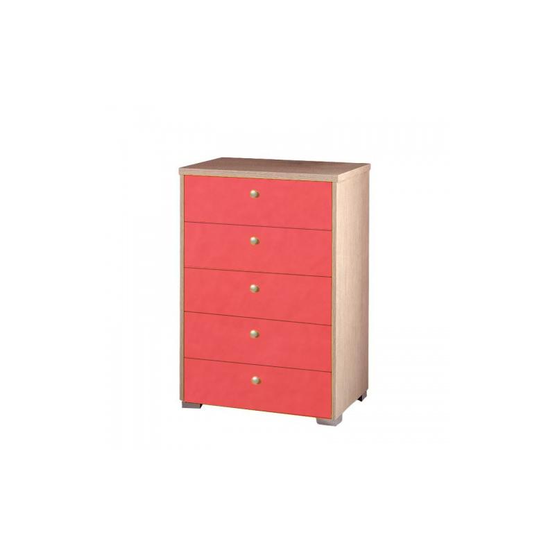 Συρταριέρα παιδική με 5 συρτάρια σε χρώμα δρυς-πορτοκαλί 60x45x90
