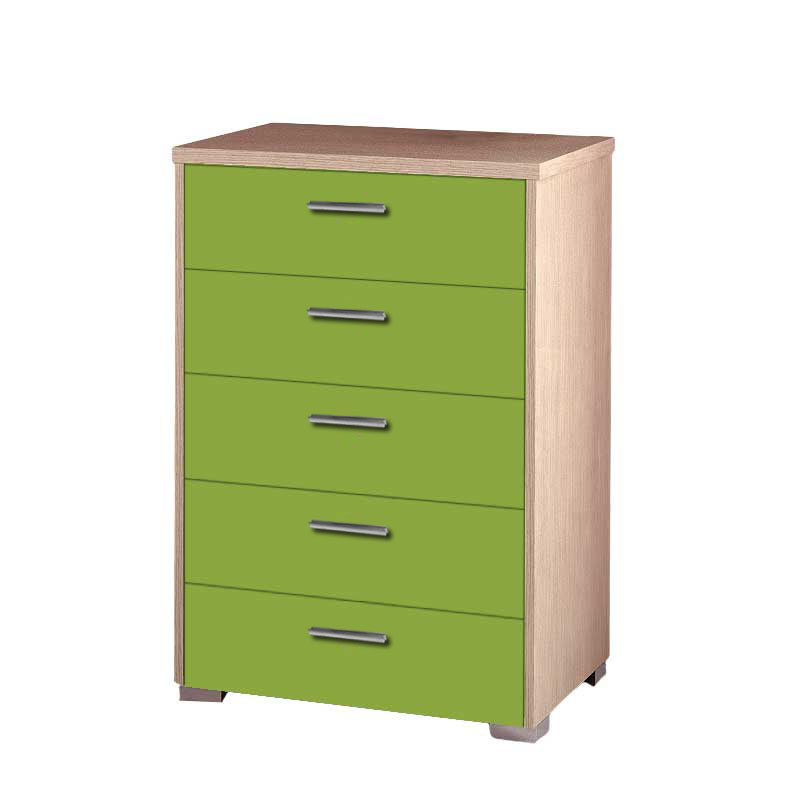 Συρταριέρα παιδική με 5 συρτάρια σε χρώμα δρυς-λαχανί 60x45x90