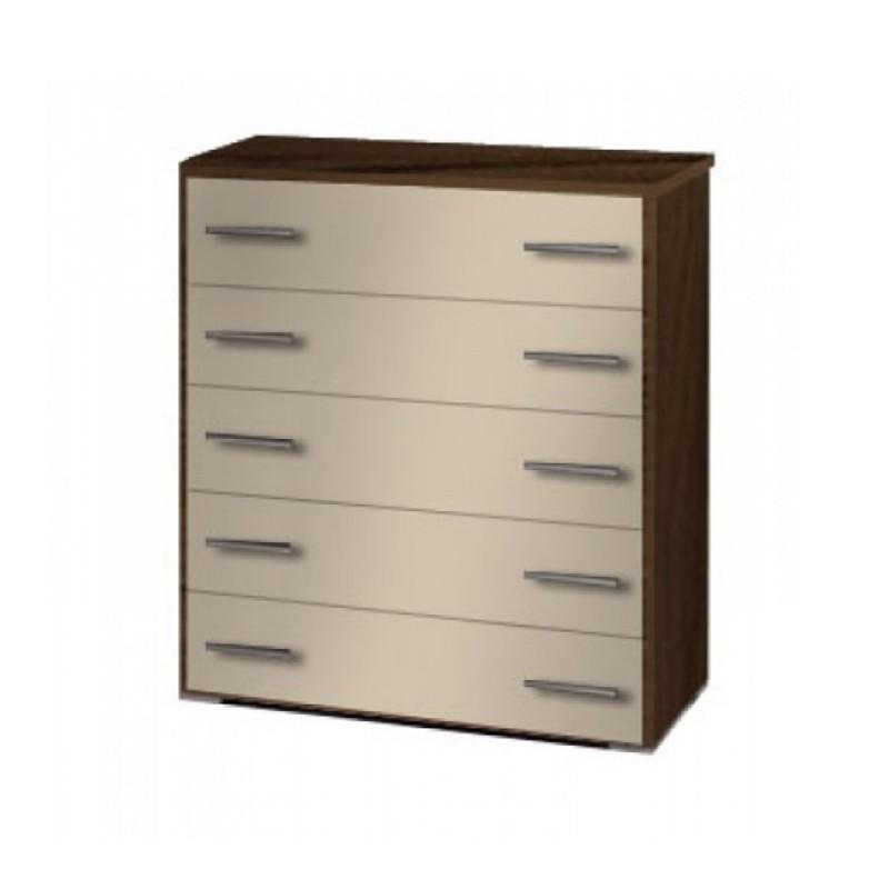 Συρταριέρα με 5 συρτάρια σε χρώμα εκρού-καρυδί 80x45x90