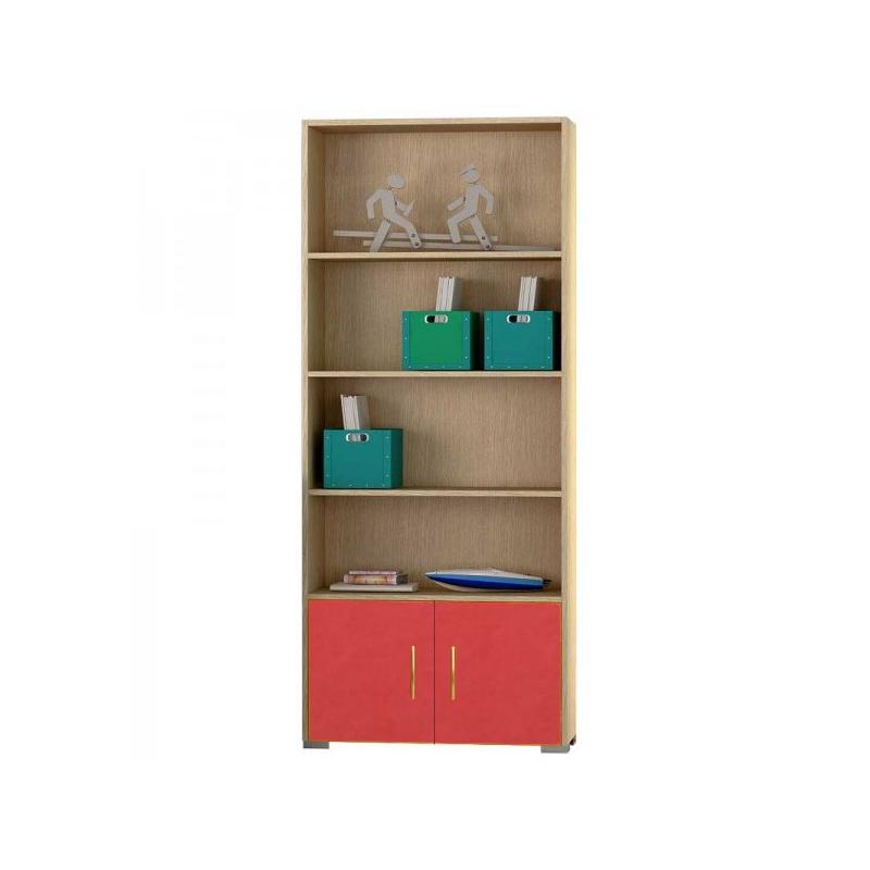 Βιβλιοθήκη παιδική σε χρώμα δρυς-πορτοκαλί 75x30x180