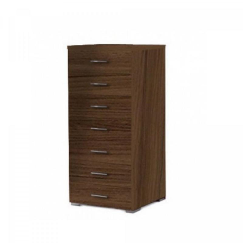 Συρταριέρα με 7 συρτάρια σε χρώμα καρυδί 60x45x123
