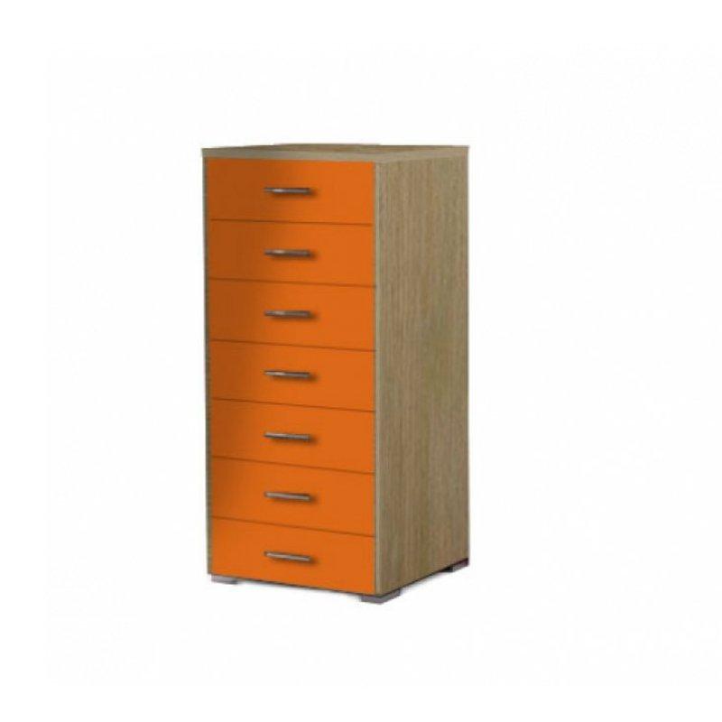 Συρταριέρα με 7 συρτάρια σε χρώμα δρυς-πορτοκαλί 60x45x123